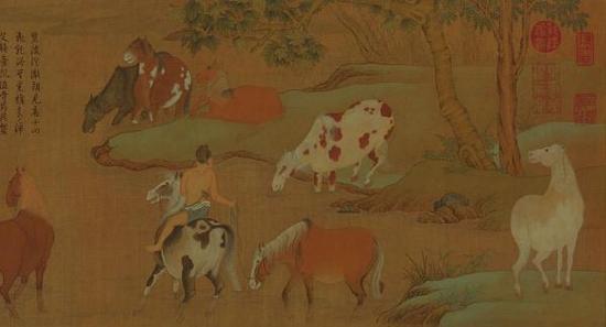 赵孟頫特展上的作品《浴马图卷》