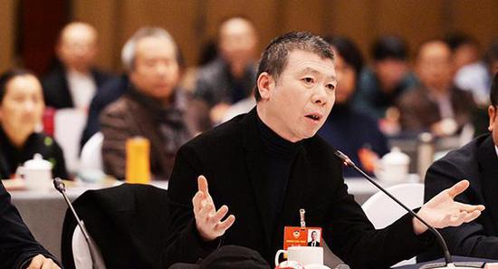 2018年3月6日下午,北京,全国政协十三届一次会议文艺界别举行小组会议, 冯小刚委员发言。视觉中国 图