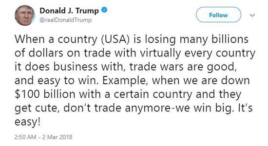 特朗普称美国赢贸易战轻而易举 这些国家强硬回怼龙组狂风