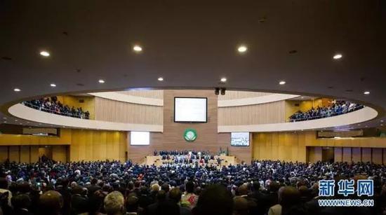 ▲1月28日在埃塞俄比亚首都亚的斯亚贝巴拍摄的第30届非盟首脑会议现场(图:新华社)
