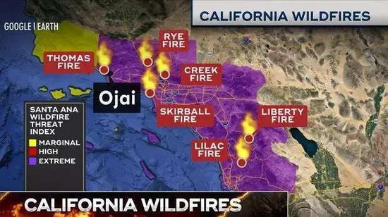 ▲南加州多地已发布紫色预警 图据CBS