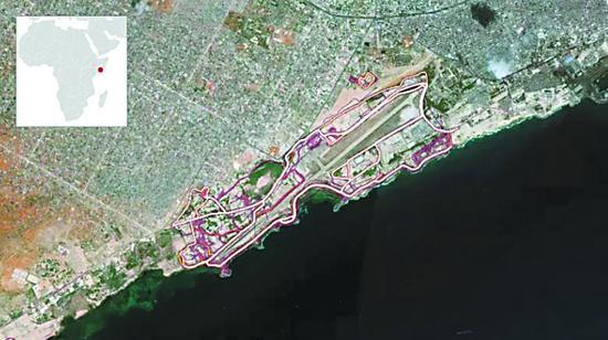 运动轨迹清晰勾勒出摩加迪沙基地的轮廓。