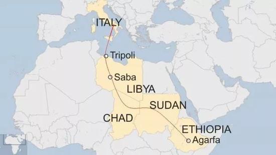 ▲哈倫從埃塞俄比亞一路跋涉到義大利的路線圖  圖據BBC