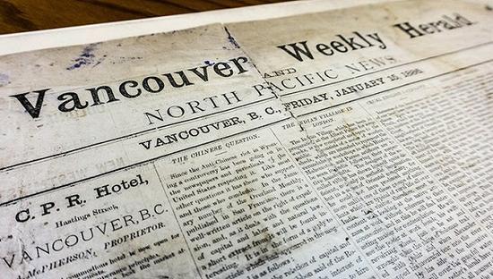 《温哥华每周先驱和北太平洋新闻报》。图片来源:不列颠哥伦比亚大学档案馆