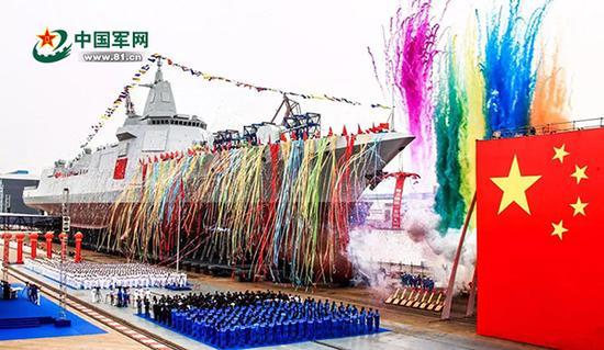 2017年6月28日,我国新型万吨级驱逐舰首舰下水。资料图