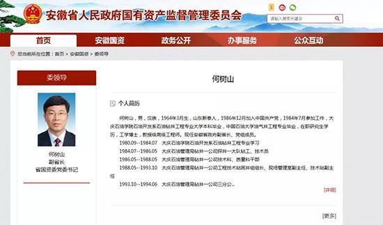 安徽省国资委官方网站截图