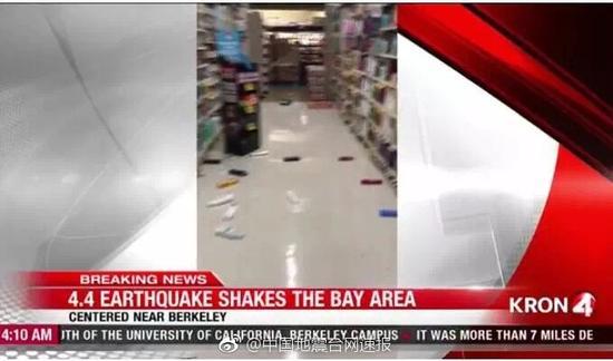美国加州发生4.4级地震 震感强烈很多人被晃醒