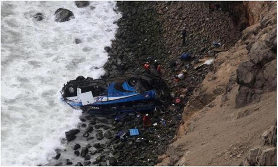 一辆载有53人的巴士在秘鲁北部泛美公路坠下悬崖。(路透社图)