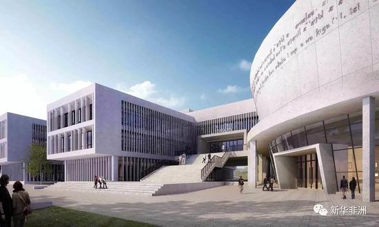 援坦桑尼亚达累斯萨拉姆大学中国图书馆效果图。(项目方供图)