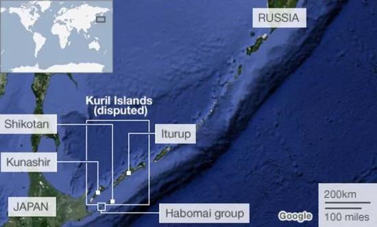 ▲日俄争议岛屿地理位置示意图(BBC)