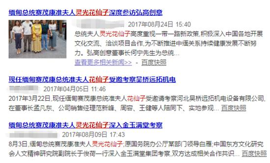 """网上搜""""灵光花仙子""""出现的相关报道截图"""