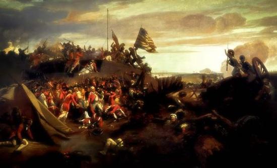 资料图片:艺术家绘制的约克城战役油画。(图片来源于网络)