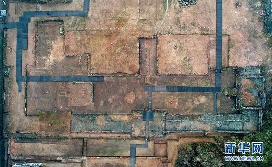 这是1月21日航拍的大上清宫遗址。新华社记者 万象 摄