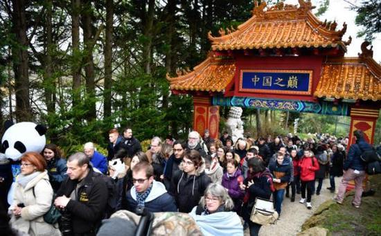 當天,熊貓館內異常火爆,不少家長帶着孩子前來參觀。微博 圖