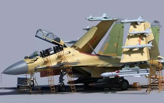 ▲资料图片:专业军迷制作的歼-15双座型舰载机CG图