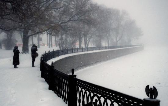 资料图片:雪中的俄罗斯圣彼得堡。新华社/卫星社