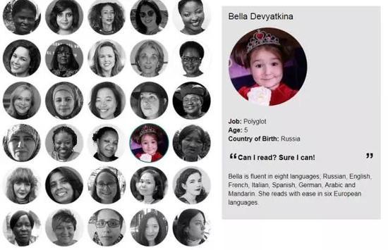 """▲""""BBC 2017年度全球百大杰出女性""""关于贝拉的介绍 图据BBC官网"""