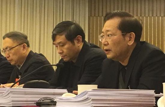 3月13日下午,全国政协委员、国务院三峡办主任聂卫国(右一)进行小组发言。 澎湃新闻记者 李闻莺 图