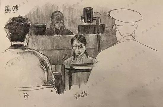 12月14日庭审还原画。(来源:澎湃新闻)