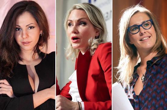 """部分參加俄羅斯總統競選的""""娘子軍"""":(左至右)俄著名艷星葉蓮娜·別爾科娃、女記者兼歌手葉卡捷琳娜·戈登、女主持克謝尼婭·索布恰克。圖/視覺中國"""