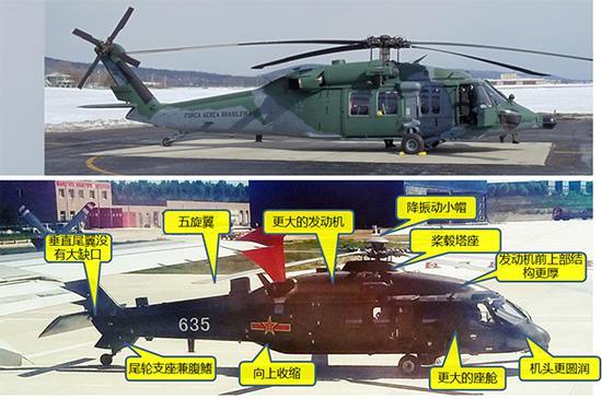 """直-20(上)与UH-60""""黑鹰""""(下)对比。"""