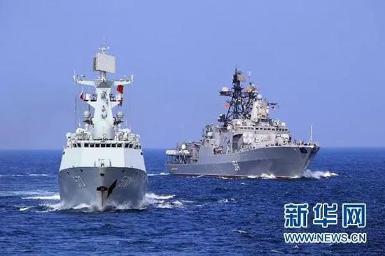 """▲资料图片:中俄""""海上联合-2017""""联合军事演习第一阶段于7月21日-28日在波罗的海举行,俄海军和中国海军的10多艘舰艇参加演习。"""