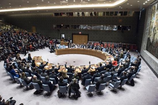 12月18日,联合国安全理事会投票表决涉及耶路撒冷地位问题的决议草案。图片来源:联合国官网