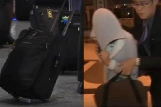 台海关检查其行李箱底部横杆上黏有大麻及摇头丸。 资料图