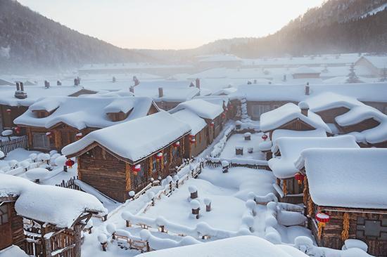 黑龙江双峰林场雪乡。视觉中国 资料图