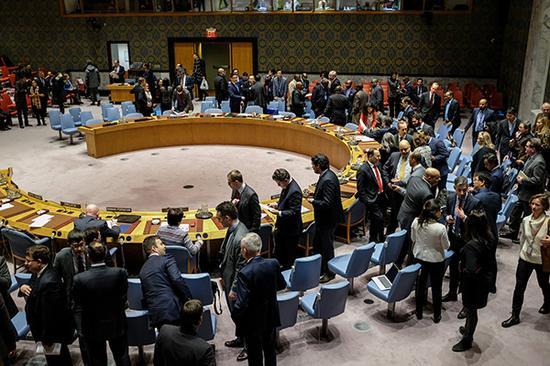 当地时间2018年1月5日,美国纽约,联合国安理会就伊朗局势举行会议。视觉中国 图