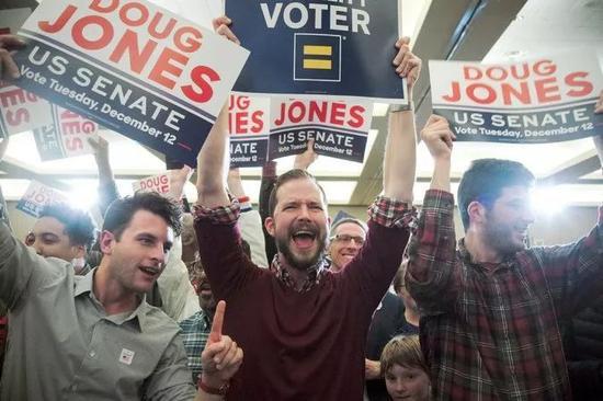 ▲亚拉巴马州伯明翰,道格・琼斯的支持者庆祝琼斯赢得亚拉巴马州参议院席位。(《纽约时报》网站)