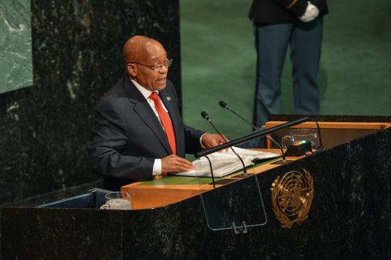 圖為2017年9月20日祖馬在紐約聯合國總部發言的資料照片。(新華社記者李睿攝)