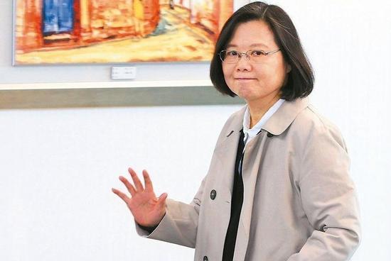 台湾地区领导人、民进党主席蔡英文。(图片来源:台湾《联合报》)