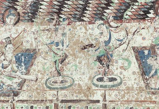 莫高窟-第220窟-主室-南壁-乐舞(局部)。 敦煌文物数字化研究所供图