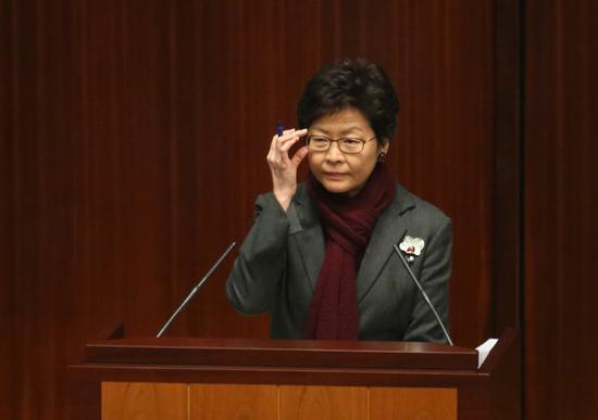 林郑月娥强调罪犯以行使宪法权利为请求轻判的理由不甚可取(截图源于香港特区政府新闻网)