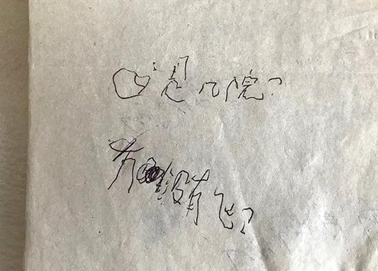 陶园弯弯扭扭地在纸上写字