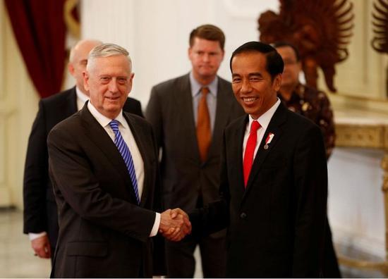▲1月23日,印尼总统佐科会见到访的美国国防部长马蒂斯。