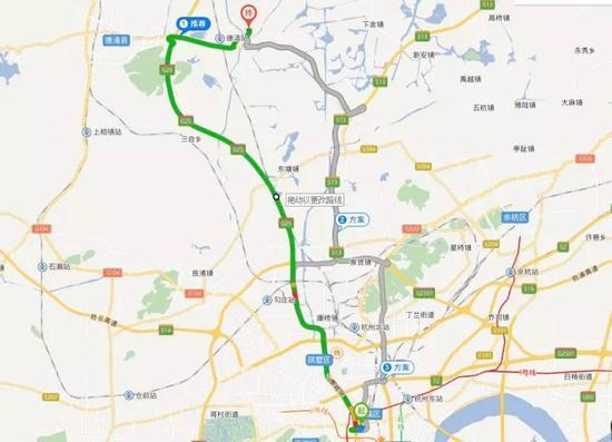 △地图显示,体育场路到乾元镇距离约45公里
