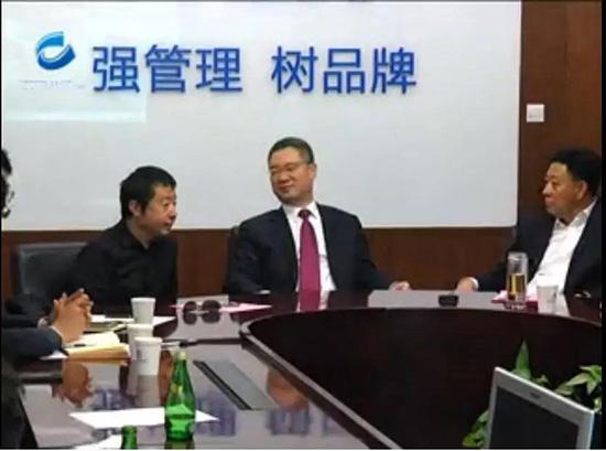 贾樟柯(左)、时任山西宣传部长王清宪(中)与胡玉亭(右)。