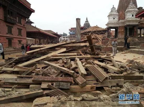 尼泊尔发生8.1级大地震,地震灾区现场。