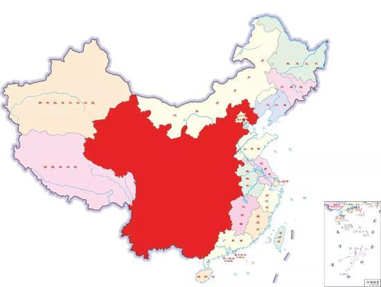 """图中深色区域为""""三线地区""""覆盖省市区"""