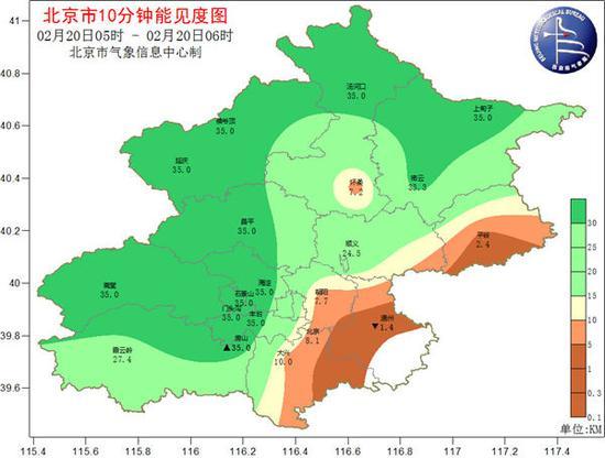 2月20日晨,北京西部北部能见度已好转。(来源:@气象北京)