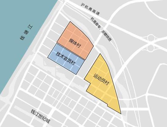 2022年杭州亚运会亚运村选址示意图 杭州亚组委供图