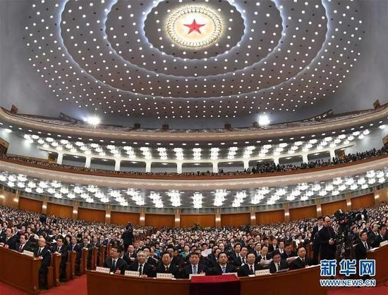 ▲3月13日,十三届全国人大一次会议在北京人民大会堂举行第四次全体会议。图来自新华社