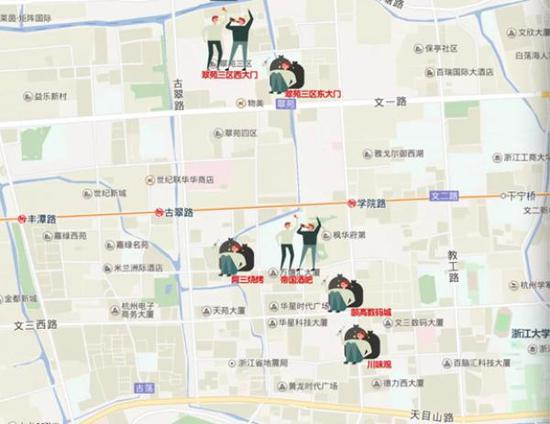 """醉汉分布图 本文图片均来自""""杭州日报""""微信公众号"""