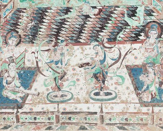 莫高窟-第220窟-主室-南壁乐舞(局部),虚拟修复后。 敦煌文物数字化研究所供图