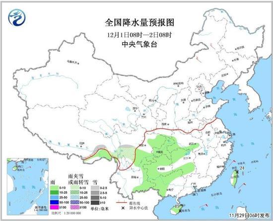 图3 全国降水量预报图(12月1日08时-12月2日08时)