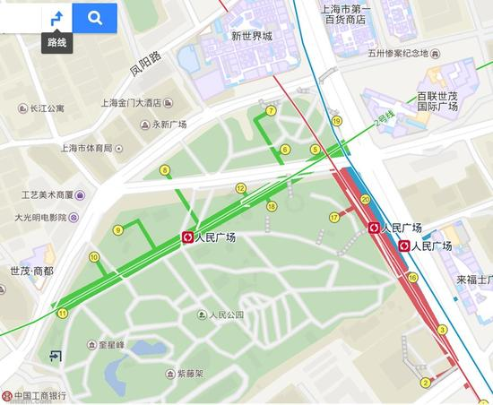 上海人民广场地铁站出口(百度地图截图/图)