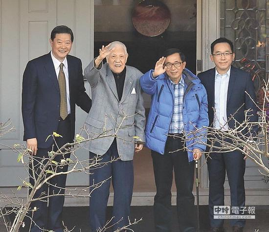 陈水扁前两日刚登门为李登辉祝寿。(图片来源:台湾《中时电子报》)