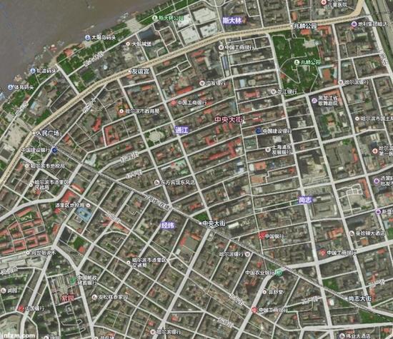 用导航软件俯瞰哈尔滨中央大街附近(资料图/图)